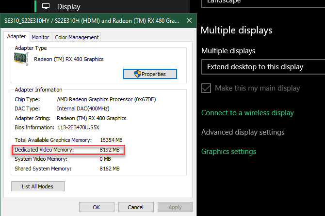 Como aumentar la RAM de video dedicada en Windows 10